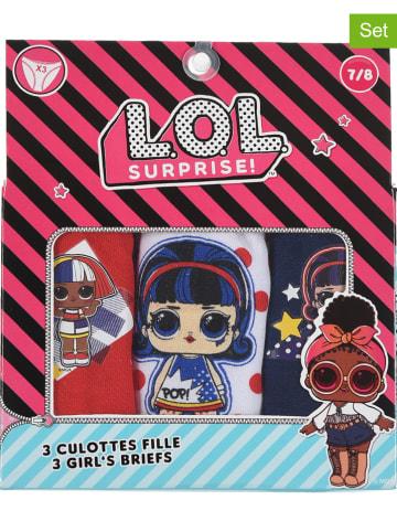 """L.O.L. Surprise Majtki (3 pary) """"LOL"""" w kolorze granatowym, czerwonym i białym"""
