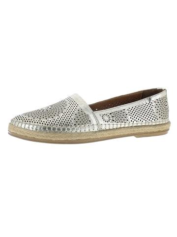Andrea Conti Skórzane slippersy w kolorze srebrnym