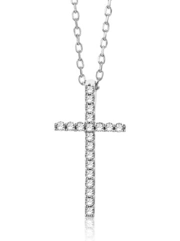 Revoni Witgouden ketting met diamanten hanger - (L)45 cm