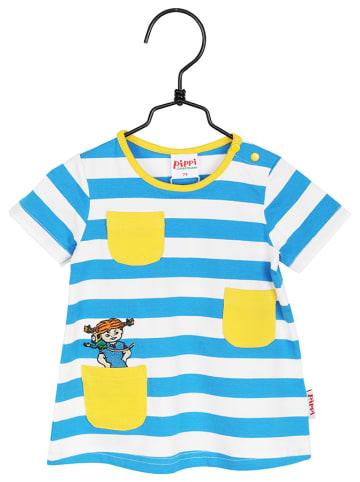 Pippi Sukienka w kolorze niebiesko-biało-żółtym
