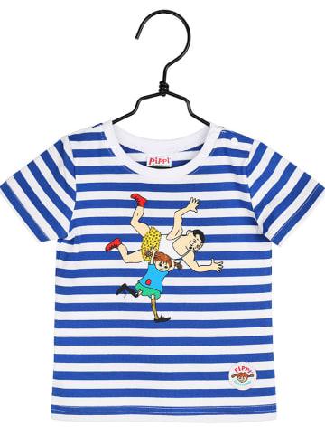 Pippi T-shirt w kolorze biało-niebieskim
