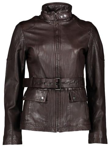 Buffalo Skórzana kurtka w kolorze ciemnobrązowym