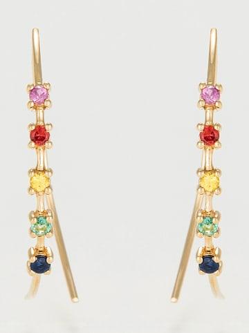 """DIAMANTA Gouden oorhangers """"Colorful Line"""" met edelstenen"""