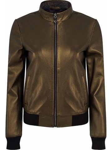Roccoban Skórzana kurtka w kolorze złotym