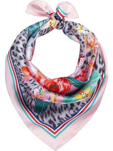 Codello Jedwabna chusta w kolorze jasnoróżowym ze wzorem - 53 x 53 cm