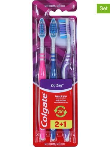 Colgate 6 x 3er-Set: Zahnbürsten in Pink/ Blau/ Lila