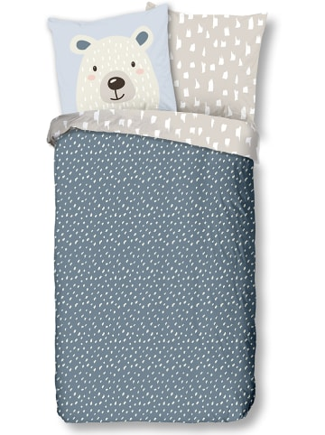 "Good Morning Renforcé beddengoedset ""Bear"" blauw/grijs"