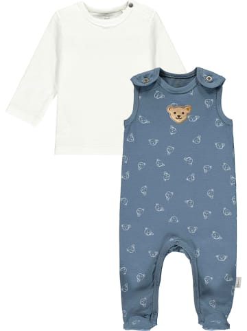 Steiff 2-delige outfit wit/blauw