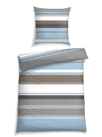 Schiesser Komplet pościeli renforcé w kolorze brązowo-błękitnym