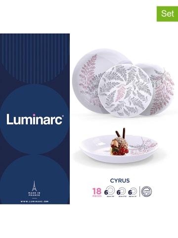 """Luminarc 18-częściowy zestaw talerzy """"Cyrus"""" w kolorze czerwono-szaro-białym"""