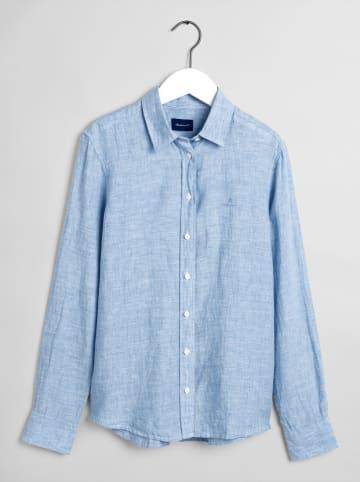 Gant Lniana bluzka w kolorze błękitnym