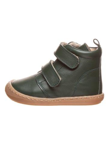 Kmins Leder-Sneakers in Dunkelgrün