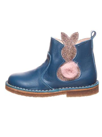Kmins Leder-Chelsea-Boots in Blau