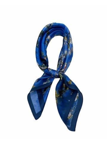 Made in Silk Jedwabna chusta w kolorze niebieskim ze wzorem - (D)52 x (S)52 cm
