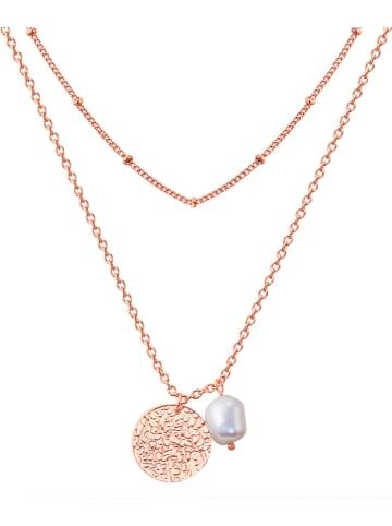 KAIMANA Rosévergulde ketting met hanger en parel - (L)43 cm