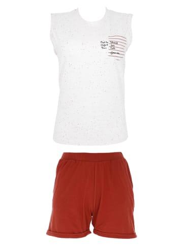 COTONELLA Pyjama wit/rood