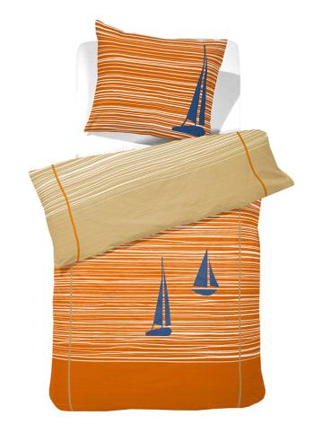 """Cinderella Bettwäsche-Set """"Boats"""" in Orange/ Beige"""