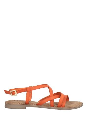 Lazamani Leren sandalen oranje