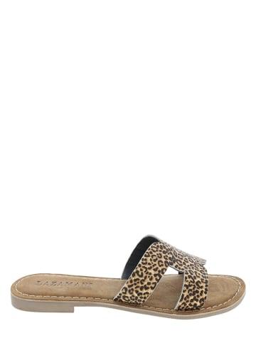 Lazamani Leren slippers bruin/beige