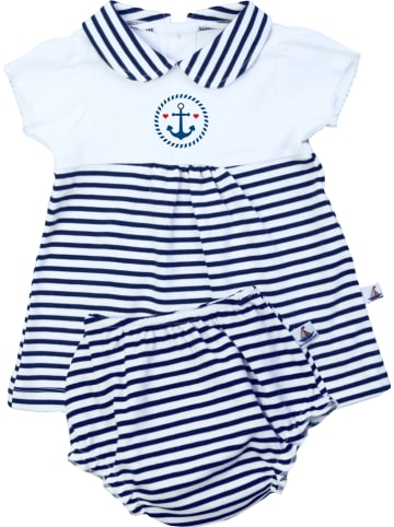 HANSEKIND 2-delige outfit wit/donkerblauw