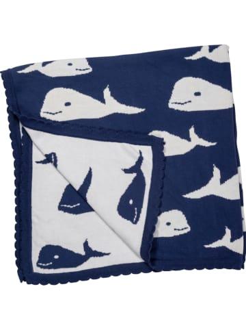 HANSEKIND Gebreide deken donkerblauw/wit - (L)80 x (B)80 cm