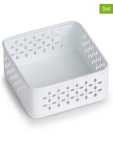 Zeller 2er-Set: Ordnungsboxen in Weiß - (B)9,6 x (H)4,5 x (T)9,6 cm
