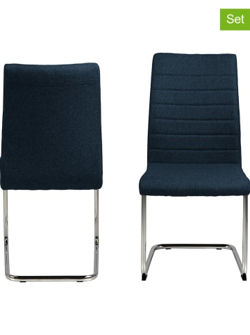 "AC Design 2er-Set: Esszimmerstühle ""Gudrun"" in Dunkelblau - (B)47,5 x (H)95,5 cm"