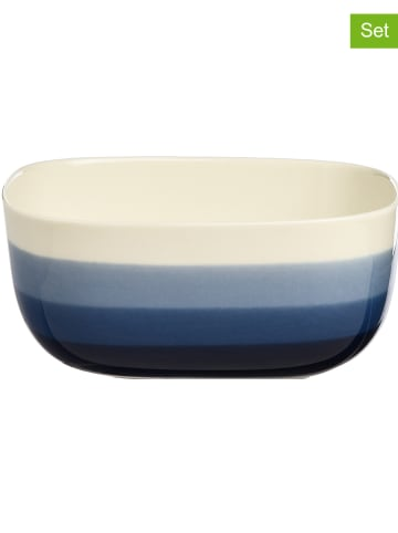 """Depot 6-delige set: kommen """"Bluestripe"""" blauw/beige - (B)16 x (H)7 x (D)13 cm"""