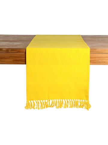 """Depot Bieżnik """"Fringe"""" w kolorze żółtym - 150 x 40 cm"""