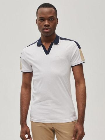 Diverse Koszulka polo w kolorze biało-granatowo-beżowym