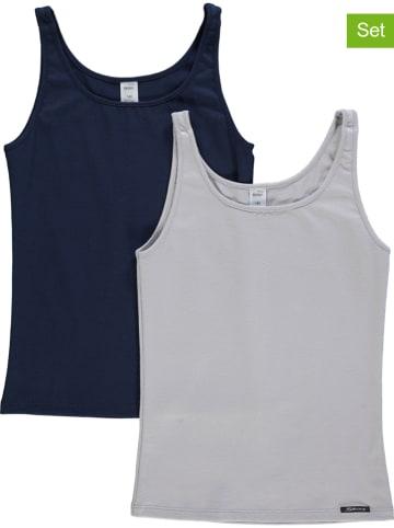 Skiny 2-delige set: hemdjes lichtgrijs/donkerblauw