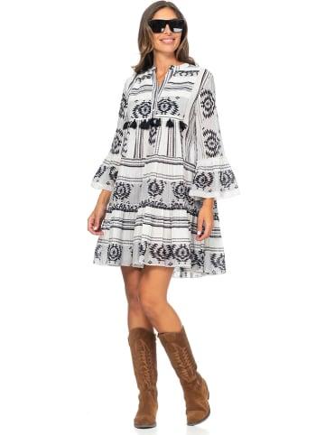 Peace & Love Kleid in Weiß/ Schwarz