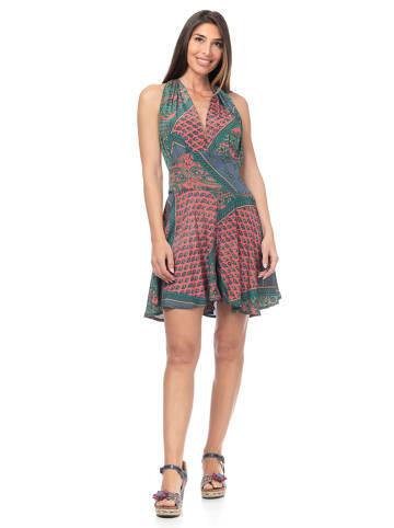 Peace & Love Sukienka w kolorze jasnoróżowo-turkusowym