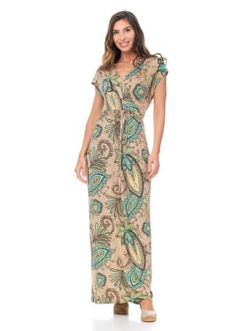 Peace & Love Sukienka w kolorze beżowo-turkusowym