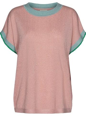 """NÜMPH Koszulka """"Nudarlene"""" w kolorze jasnoróżowo-turkusowym"""