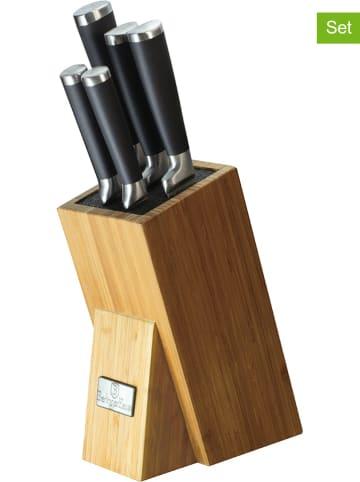 Berlinger Haus 6-delige keukenmessenset bamboekleurig/zwart