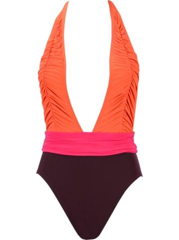 Redpoint Badeanzug in Braun/ Orange/ Pink