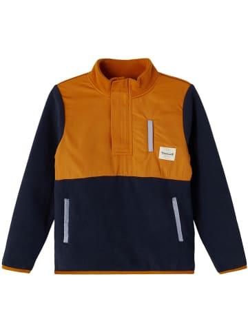 "Name it Fleece trui ""Luter"" oranje/donkerblauw"