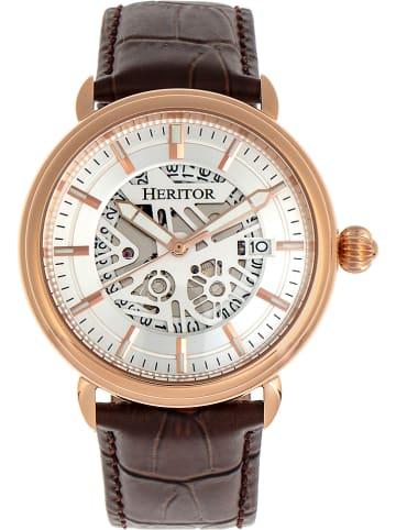 """Heritor Automatisch horloge """"Mattias"""" bruin/roségoudkleurig/wit"""