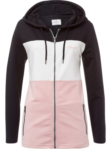 Cross Jeans Bluza w kolorze jasnoróżowo-biało-czarnym