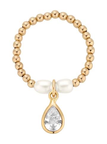 Selfie store Pozłacany pierścionek z perłami i cyrkonią