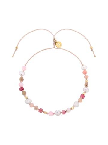 Selfie store Bransoletka w kolorze jasnoróżowym z perłami i kamieniami