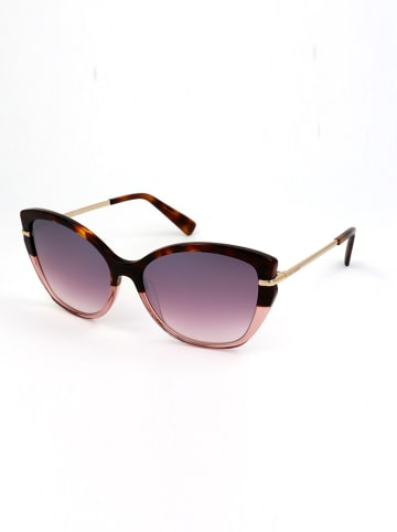 Longchamp Damskie okulary przeciwsłoneczne w kolorze brązowo-fioletowo-jasnoróżowym