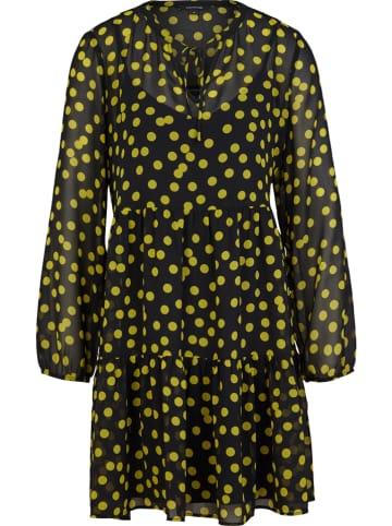 Comma Kleid in Schwarz/ Gelb