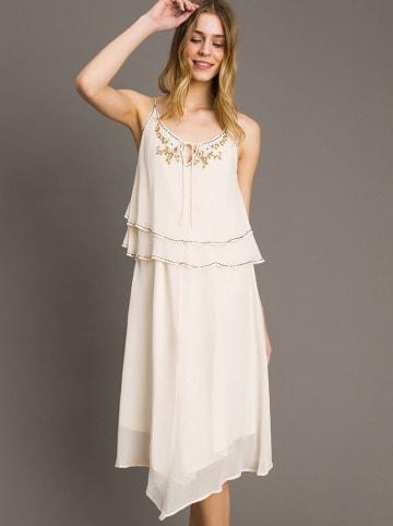 Twinset Sukienka w kolorze kremowym
