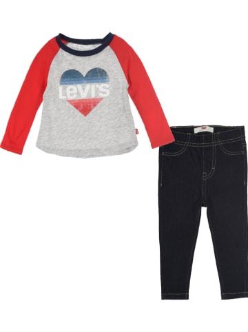 Levi's Kids 2-częściowy zestaw w kolorze szaro-czerwono-granatowym