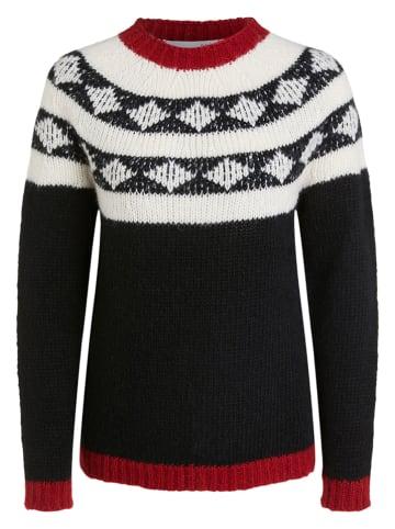 Oui Pullover in Schwarz/ Weiß/ Rot