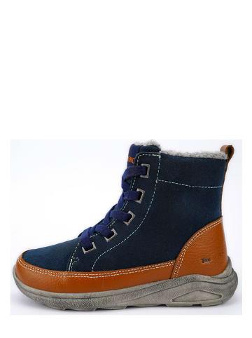 Lamino Leder-Boots in Dunkelblau/ Orange