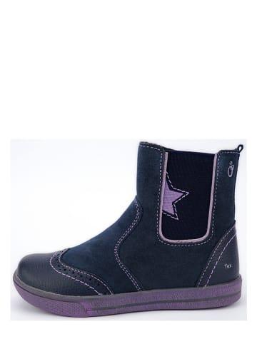 Lamino Leder-Chelsea-Boots in Dunkelblau/ Lila