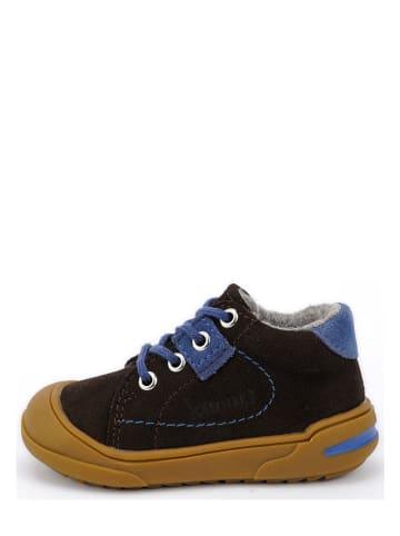 Lamino Leren loopleerschoenen bruin/blauw